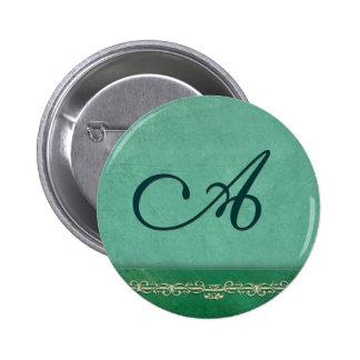 Aqua blue green monogram - customize your own button