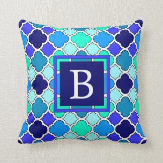 Aqua Blue & Green Quatrefoil Monogram Throw Pillow