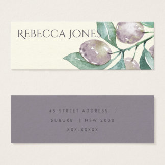 AQUA BLUE GREEN WATERCOLOUR FOLIAGE OLIVE ADDRESS MINI BUSINESS CARD