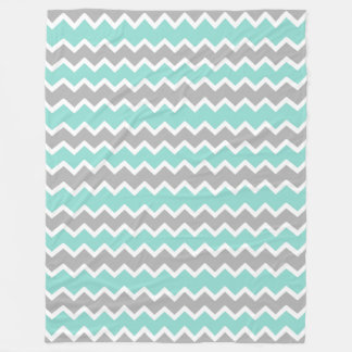 Aqua Blue Grey Grey Chevron Print Pattern Girl Fleece Blanket