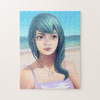 Aqua - Blue Haired Girl on Beach Jigsaw Puzzle