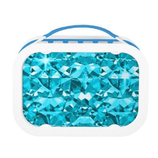 Aqua Blue Is Awesome Sparkling Diamonds Lunch Box
