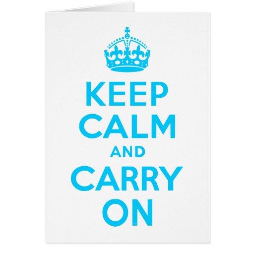 Aqua Blue Keep Calm and Carry On Card