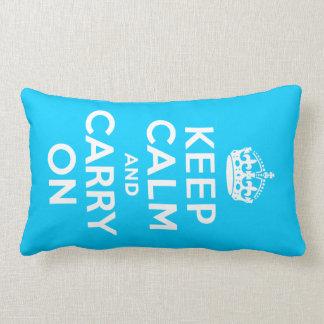 Aqua Blue Keep Calm and Carry On Pillow