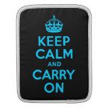 Aqua Blue Keep Calm and Carry On iPad Sleeve