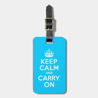 Aqua Blue Keep Calm and Carry On Luggage Tag