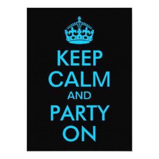 "Aqua Blue Keep Calm and Party On 5.5"" X 7.5"" Invitation Card"
