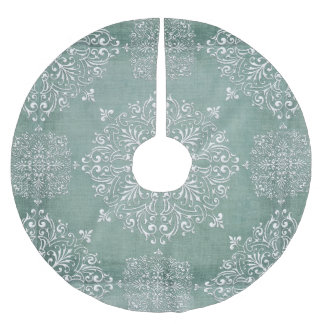 Aqua Blue & Lace Snowflake Design Tree Skirt