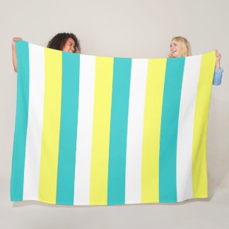 Aqua Blue, Lemon Yellow and White Stripes Fleece Blanket