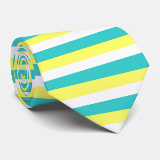 Aqua Blue, Lemon Yellow and White Stripes Tie