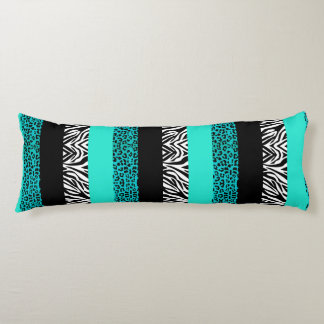 Aqua Blue Leopard and Zebra Animal Print Body Cushion