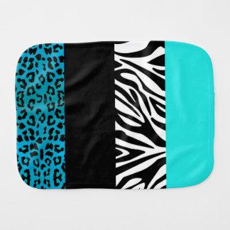 Aqua Blue Leopard and Zebra Animal Print Burp Cloth