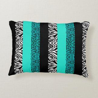 Aqua Blue Leopard and Zebra Animal Print Decorative Cushion