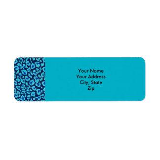 Aqua Blue Leopard Spots Ultrasuede Look Return Address Label