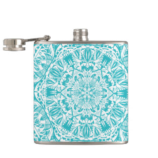 Aqua Blue Mandala Pattern Hip Flask