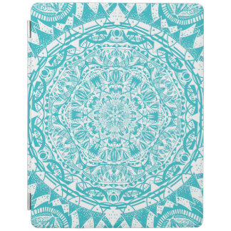 Aqua Blue Mandala Pattern iPad Cover