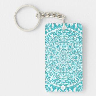 Aqua Blue Mandala Pattern Key Ring