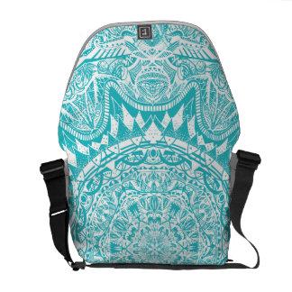 Aqua Blue Mandala Pattern Messenger Bags