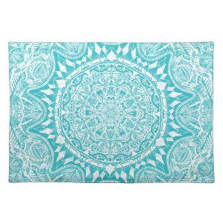 Aqua Blue Mandala Pattern Placemat