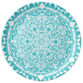 Aqua Blue Mandala Pattern Plate