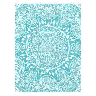 Aqua Blue Mandala Pattern Tablecloth