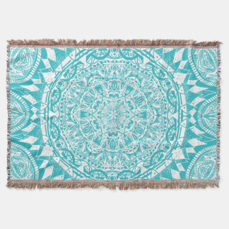 Aqua Blue Mandala Pattern Throw Blanket