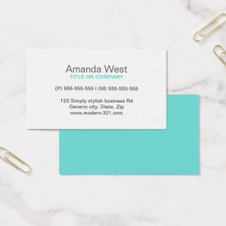 Aqua blue modern generic simple elegant personal