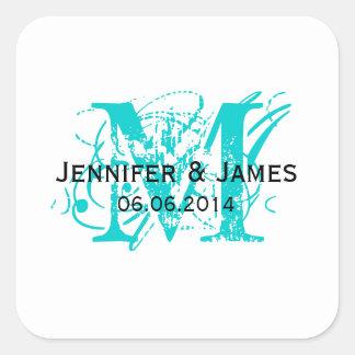 Aqua Blue Monogram Wedding Favour Stickers