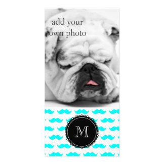 Aqua Blue Mustache Pattern, Black White Monogram Custom Photo Card