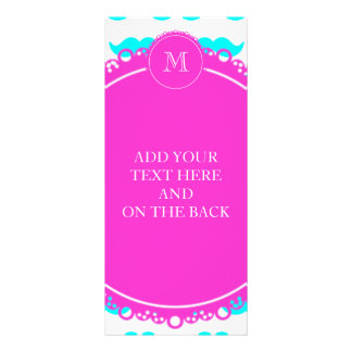 Aqua Blue Mustache Pattern Hot Pink Monogram Rack Card Design