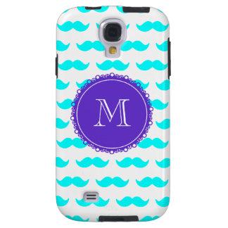 Aqua Blue Mustache Pattern, Purple White Monogram Galaxy S4 Case