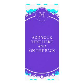 Aqua Blue Mustache Pattern Purple White Monogram Rack Cards