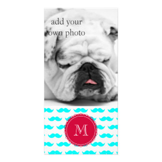 Aqua Blue Mustache Pattern, Red White Monogram Personalized Photo Card