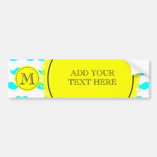 Aqua Blue Mustache Pattern, Yellow Black Monogram Bumper Sticker