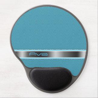Aqua Blue Named Waves Gel Mouse Pad