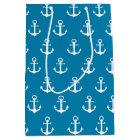 Aqua Blue Nautical Anchors Medium Gift Bag