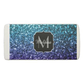 Aqua blue Ombre glitter sparkles Monogram Eraser