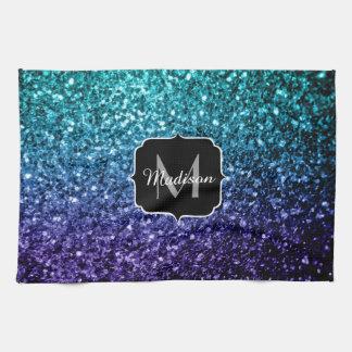 Aqua blue Ombre glitter sparkles Monogram Tea Towel