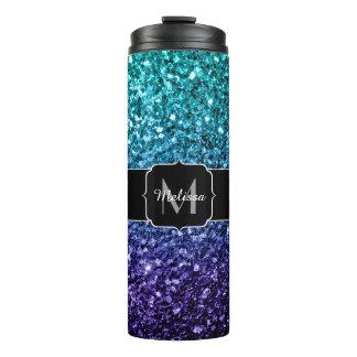 Aqua blue Ombre glitter sparkles Monogram Thermal Tumbler