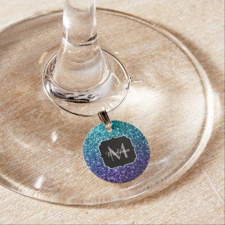 Aqua blue Ombre glitter sparkles Monogram Wine Charm