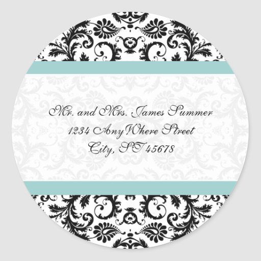 Aqua Blue on White Damask Address Wedding Stickers