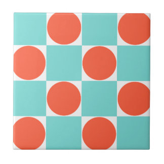 Aqua Blue & Orange Dots Retro Checkered Pattern Small Square Tile
