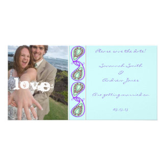 Aqua Blue Paisley Save the Date with Your Photo Customized Photo Card
