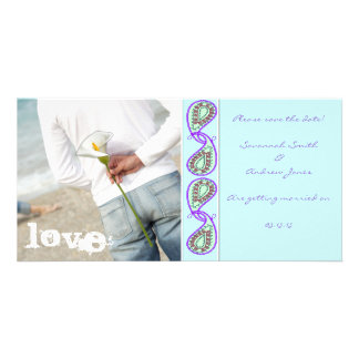 Aqua Blue Paisley Save the Date with Your Photo Personalized Photo Card