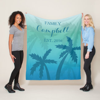 Aqua Blue Palm Tree Tropical Custom Family Fleece Blanket