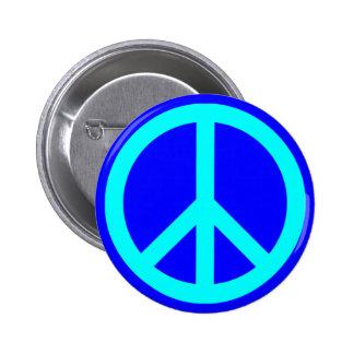 Aqua Blue Peace Symbol Pinback Button