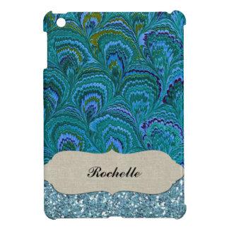 Aqua Blue Peacock Feather Glitter Personalized Cover For The iPad Mini