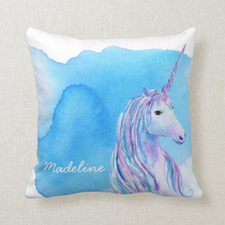 Aqua Blue Personalized Watercolor Unicorn Cushion