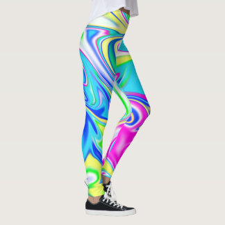 Aqua Blue Pink Spring Pastels Marbleized Pattern, Leggings