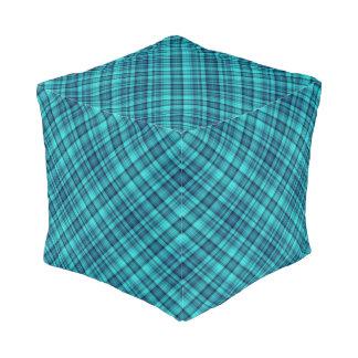 Aqua blue plaid cube pouffe
